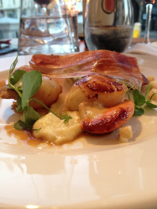 Scallops, cauliflower puree and jamón iberico at Forty One, Hove